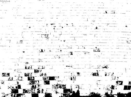 Distressed overlay texture of rough surface, bricks, structural industrial wall. Grunge background. One color graphic resource. Illusztráció