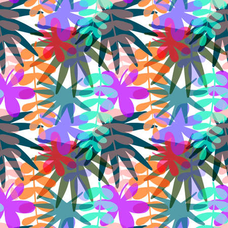 Seamless pattern with drawn tropical leaves, colorful artistic botanical illustration. Floral background. Modern botanical minimalistic illustration with texture.
