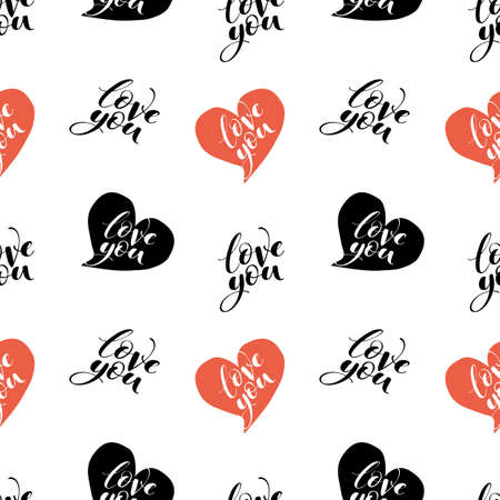 Words love you with hearts seamless vector pattern. Romantic repeatable backdrop. Valentines day wallpaper.