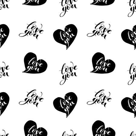 Words love you with hearts seamless vector pattern. Romantic repeatable backdrop. Valentines day wallpaper. Vector Illustration
