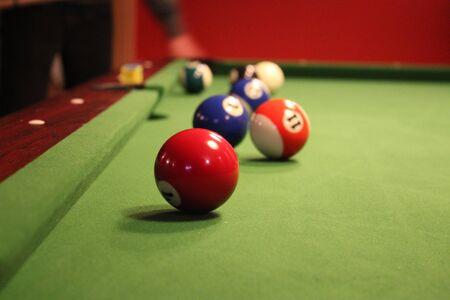 Fragment of a pool billiard game. Billiard balls
