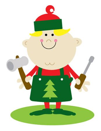 santa s elf: Santa s Little Helper Boy Elf with Tools Illustration