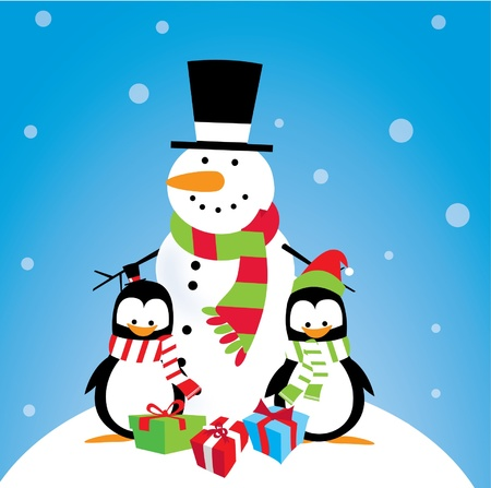 Penguins: Snowman with Penguin Friends