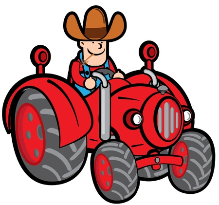 Farmer And Tractor Stock Vector - 18850804