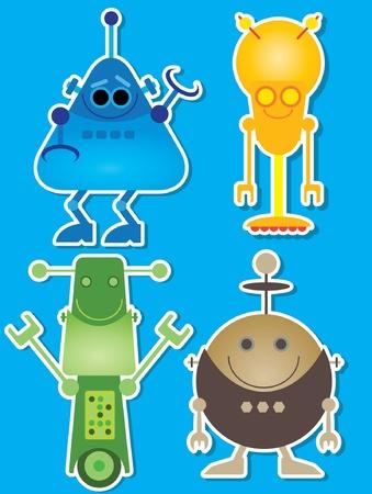 Robots Sticker Style Иллюстрация