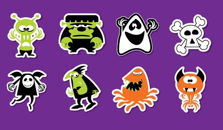 Monsters Sticker Style Vector