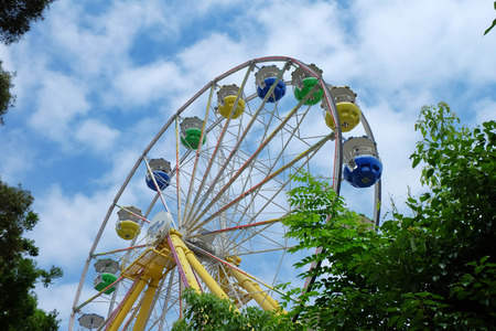 theme parks: OCEAN PARK, HONGKONG - JUNE 18, 2015: Ferris Wheel at Ocean Park, Hongkong. Ocean park is one of the two large theme parks in Hong Kong. Editorial