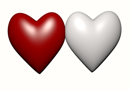 single color image: white and red heart isolated on white background, red heart-shaped. Hearts 3D rendering.Two Heart Shape,Valentines Day and Love Symbol. Couple of  Heart Isolated on White Background