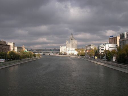 menacing: Moscow river Russia. Menacing clouds above Moskow river and quays Stock Photo