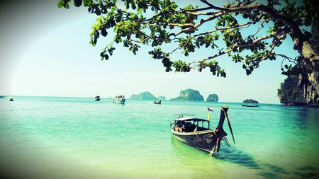 green sea: Boat taxi with green sea  at Krabi