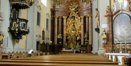 thankfulness: Inside  church  in Austria Stock Photo