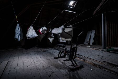 training bicycle and washing in the attic of an abandoned villa