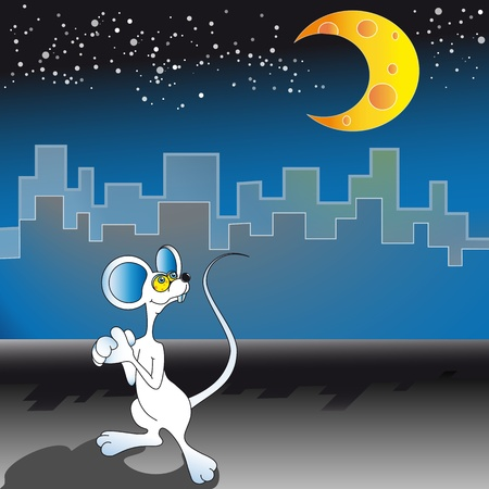 Hungry mouse wants to eat a piece of cheese which has a size of the moon Stock Vector - 13037675
