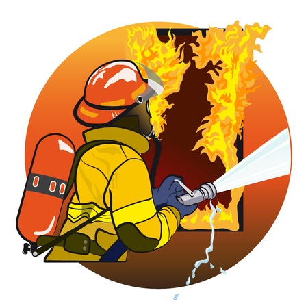 fireman: Firefighter extinguishes fire  The emblem