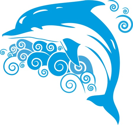 dolphin silhouette: Dolphin surfaced from the ocean waves Illustration