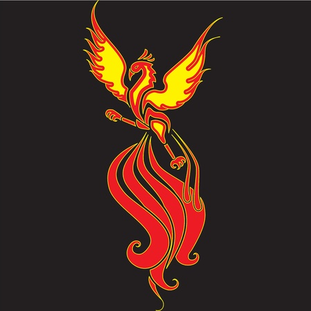 fenix: Fiery Phoenix with widely spread wings  The image can be used for tattoo