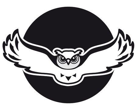 Owl is flying against the backdrop of the moon  Image can be used as an emblem or logo