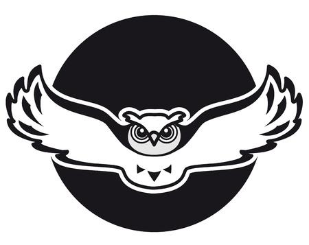 buhos: Búho está volando contra el telón de fondo de la imagen de la luna puede ser utilizado como un emblema o logotipo Vectores
