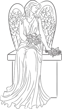 angel headstone: Angel with Roses