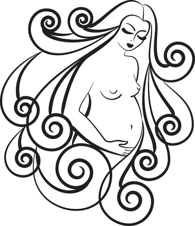 pregnant black woman: The contour image of a pregnant woman