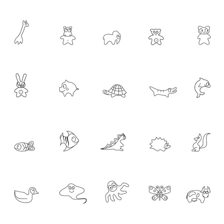 black squirrel: Set of contour animals for childrens illustrations