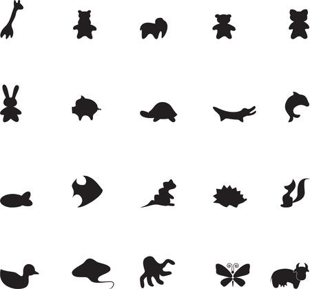 siluetas de elefantes: Conjunto de animales de contorno para las ilustraciones para niños 1