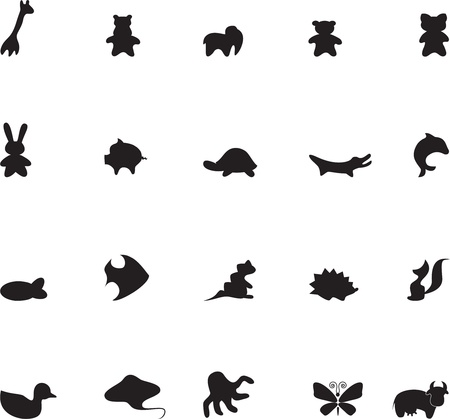 black octopus: Set of contour animals for childrens illustrations 1
