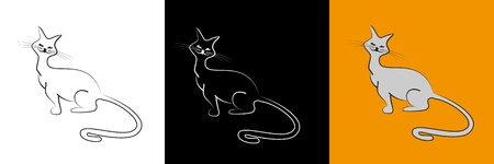 Contour image of cute cat. For your logo. Vector
