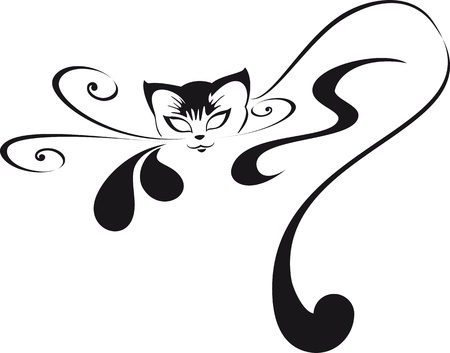 cat tail: Home glamorous kitten. For your logo