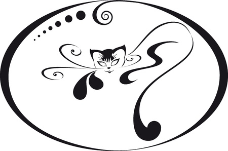 caricature cat: Home glamorous kitten in a circular frame. For your logo