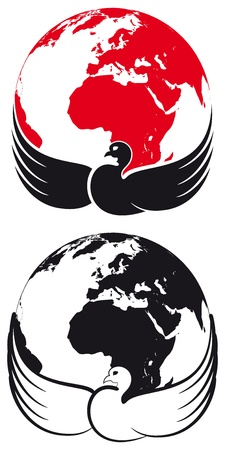 Dove, who embraces his wings the all our planet. The image symbolizes the peace of the world, the priority for good on the whole planet, and the protection of God. Vector