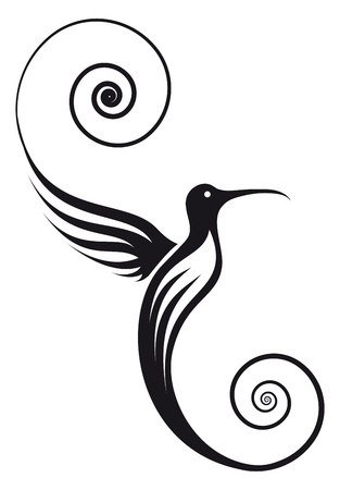 Hummingbird with pretty delicate wings and tail   Image can be used for your logo  Illustration
