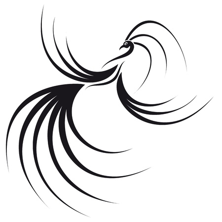 Phoenix with a beautiful wings and tail  Image can be used as a logo
