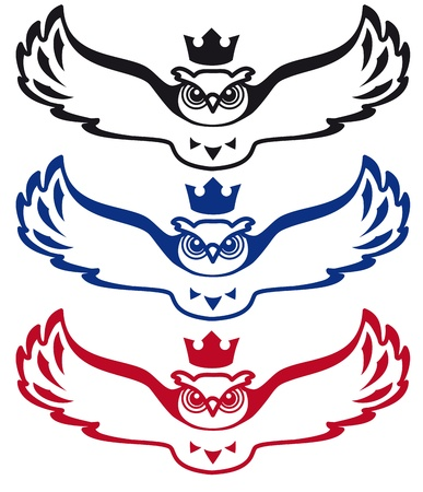 scholarly: Flying owl with a crown on his head  The image can be be used as a symbol of the rule of science,  knowledg, and as well as the logo for scholarly publishing and bookselling houses, libraries, schools and universities  Illustration