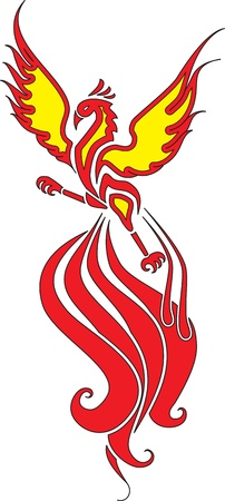 widely: Fiery Phoenix with widely spread wings Fiery Phoenix with widely spread wings  The image can be used for logo or tattoo Illustration