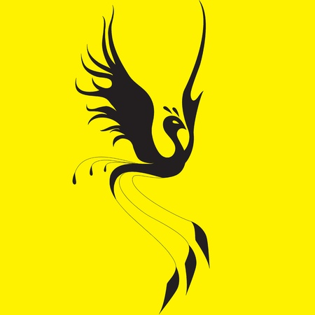 Phoenix on a yellow background Vector