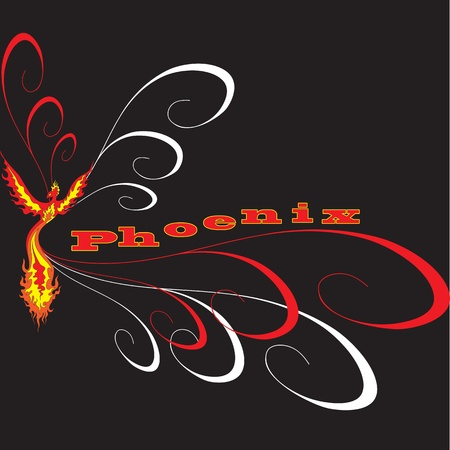 Fiery Phoenix with widely spread wings  The image can be used for logo or sign