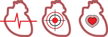 cardiologist: A set of three hearts  Can be used for the logo