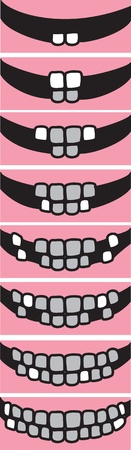 Illustration depicting the sequence of eruption of �rimary teeth Vector