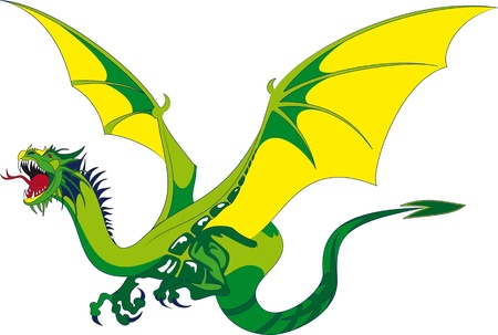 flying dragon: Medieval dragon with open mouth threateningly Illustration