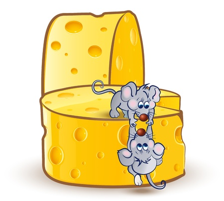 Little mouse helps the other little mouse to climb the big cheeses  Illustration