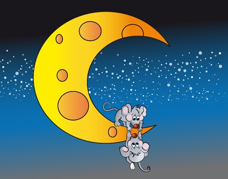 Little mouse tries to drag the moon another small mouse  Illustration
