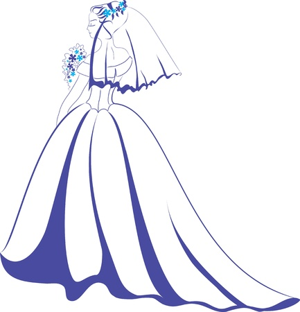Young girl in a wedding dress and veil with a bouquet of flowers  Violet tones Vector