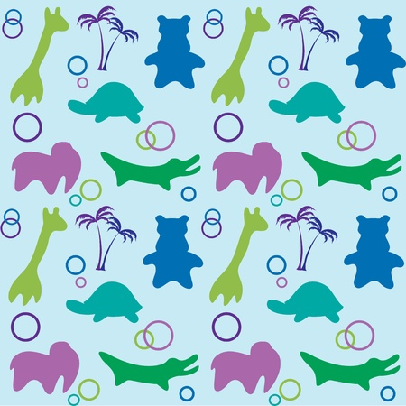 Seamless baby background  Safari animals Vector