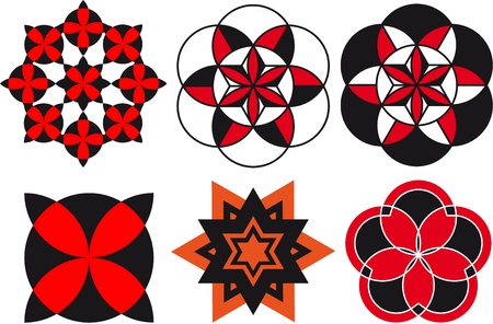 Patterns, ornaments consisting of geometric elements of the circle, triangle, logo Vector