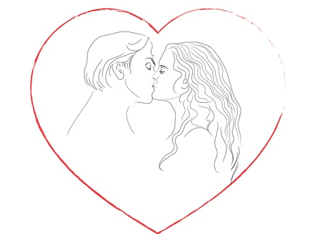 kiss lips: Kiss of man and woman. Frame in the form of the heart. Contour.