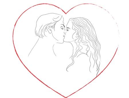 zoenen: Kiss van man en vrouw. Frame in de vorm van het hart. Contour.