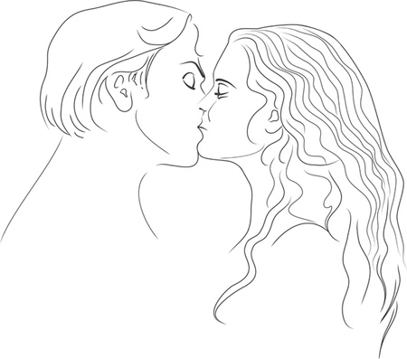 profile picture: Man and woman express their feelings in a gentle kiss. Contour Illustration