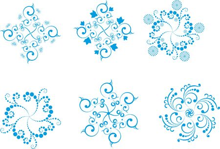 A set of  black snowflakes, patterns, ornaments, items Stock Vector - 13578810