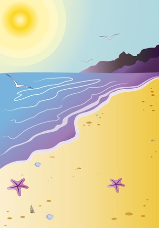 Illustration representing a clean beach in summer season with a starfishes and seashells, , with warm sea and with a bright sun. Vector